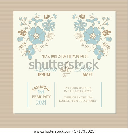 Beautiful floral wedding invitation or announcement card. Vector illustration