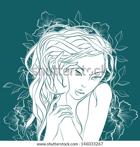 Beautiful girl on a flowers background. Vector illustration
