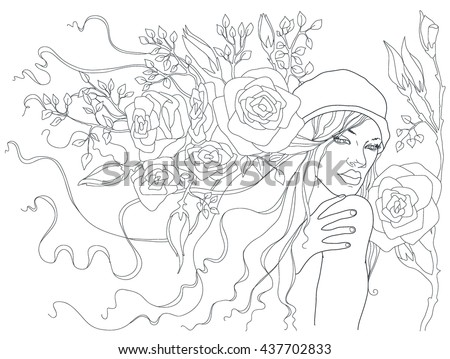 beautiful girl with flowers in her hair. vector illustration. beautiful woman with roses