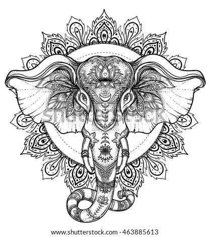 Beautiful Hand drawn Tribal Style Elephant Coloring Book Design With