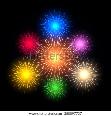 Brightly Colorful Fireworks Salute Various Colors Stock #2: stock vector beautiful holiday fireworks on a dark background bright flying sparks vector illustration
