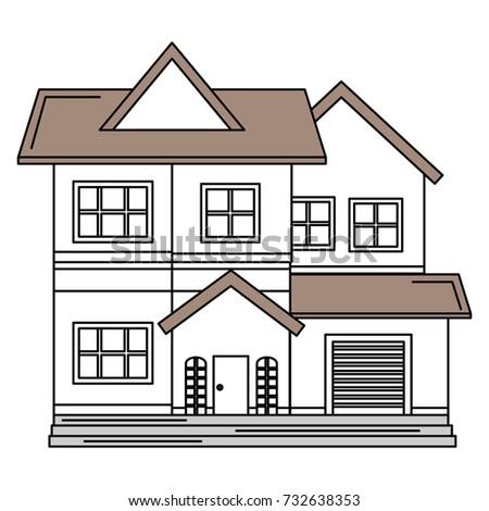 Vector line house windows roof doorline stock vector for Beautiful house building
