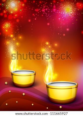 Beautiful illuminating Diya background for Hindu community festival ...