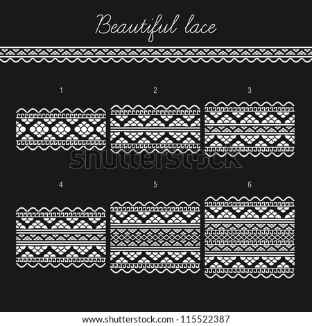 Beautiful lace seamless segments for scrapbooking, card decoration etc (vector version)