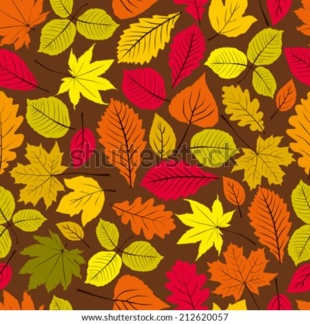 Beautiful leaves seamless pattern, vector natural endless background, autumn background.