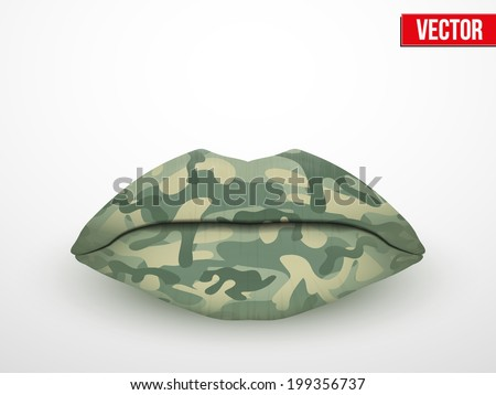 Beautiful luscious lips with Camouflage texture. Vector Illustration. Isolated on white.