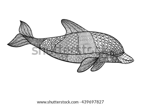 Vector Hand Drawn Dolphin Illustration Doodle Stock