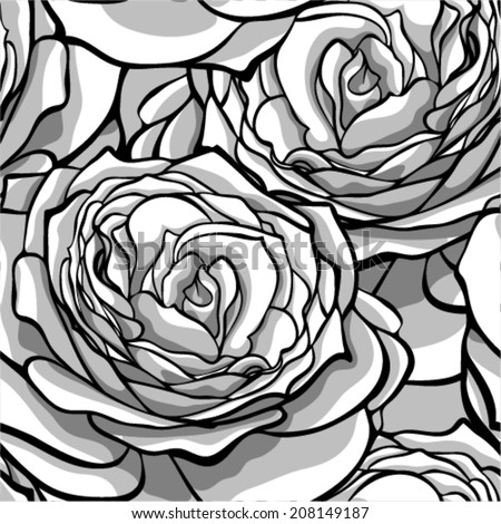 Beautiful monochrome, black and white seamless background with roses. Hand-drawn with effect of drawing in watercolor
