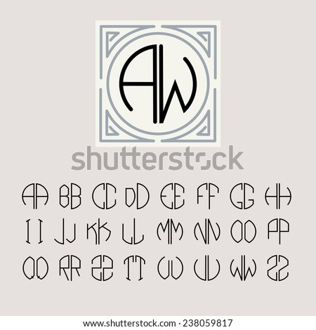 Beautiful Monogram Art Nouveau And A Set Of Templates Of Letters Inscribed  In A Circle.  Templates For Letters