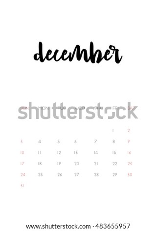 Beautiful monthly Calendar for 2017 Year. Printable and ready to use design template. Stylish monochrome stationery design. Week starts from Sunday. Vector calendar - December 2017