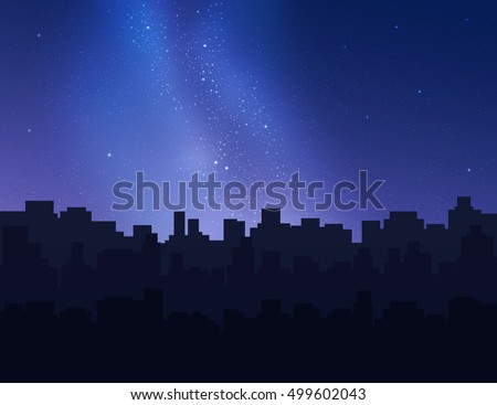 Beautiful night sky over city buildings. Vector illustration.