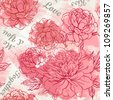 Beautiful peony seamless pattern design. Hand drawn artistic vector illustration. - stock photo