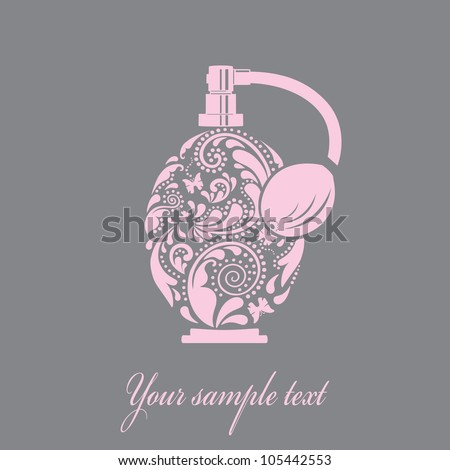 Beautiful perfume bottle, made of the leaf pattern. Vector EPS10 illustration.