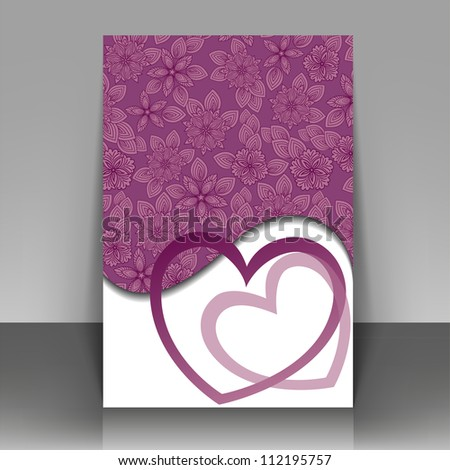 Beautiful purple postcard for Valentine's Day or wedding
