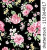Beautiful seamless floral pattern, pink roses on floral background,flowers pattern - stock vector