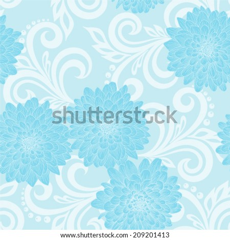 Beautiful seamless pattern with dahlia flowers and abstract floral swirls