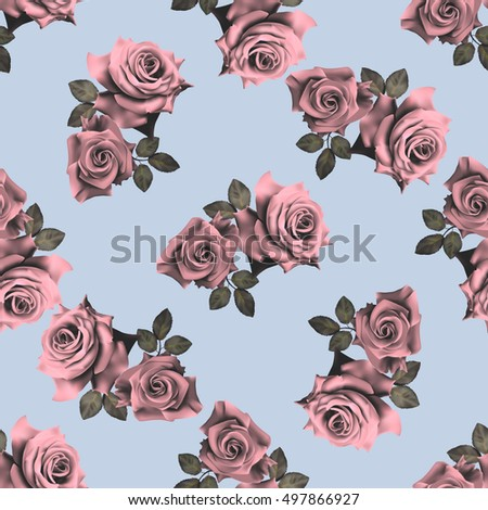Beautiful seamless pattern with pink roses on blue background.Vector illustration.