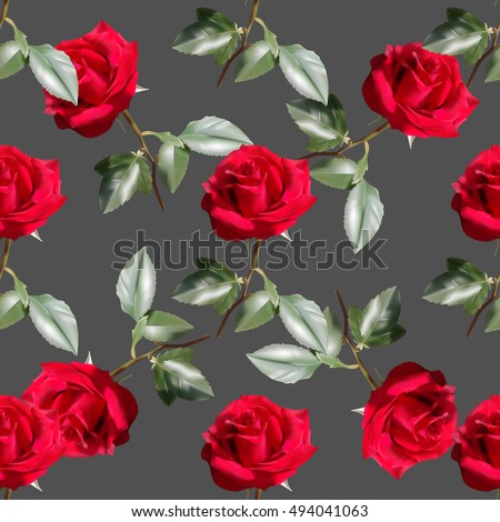 Beautiful seamless pattern with red roses on dark gray background.Vector illustration.