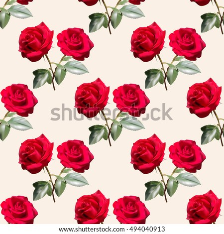 Beautiful seamless pattern with red roses with leaves on yellowish background.Vector illustration.