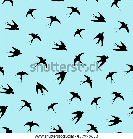 Beautiful seamless pattern with silhouette swallow birds on the blue background. Perfect vector illustration.