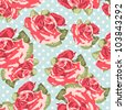 Beautiful Seamless rose pattern with blue polka dot background, vector illustration - stock vector