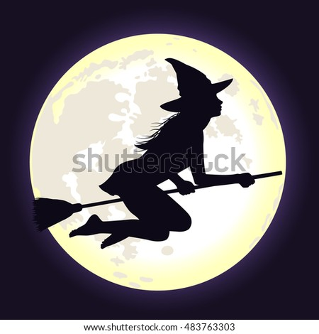 Beautiful shining moon in dark blue sky and silhouette of young witch flying on broomstick. Vector background for Halloween.
