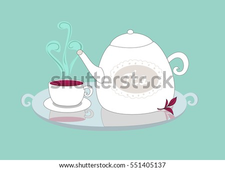 Beautiful tea pot and cup, vector illustration