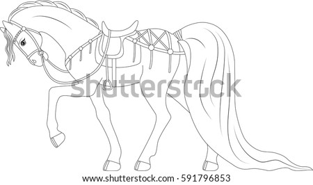 beautiful thoroughbred horse in harness coloring page