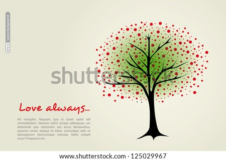 Beautiful tree with red berries, place for text. Vector.