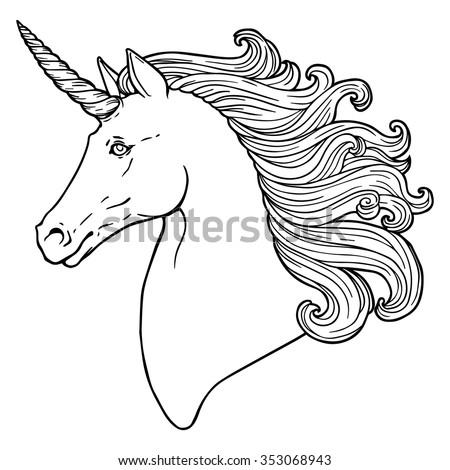 Beautiful Unicorn Head Stock Vector 353068943 - Shutterstock