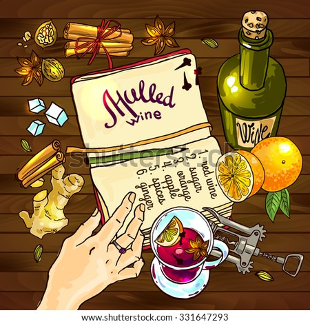 Beautiful vector hand drawn illustration mulled recipe.