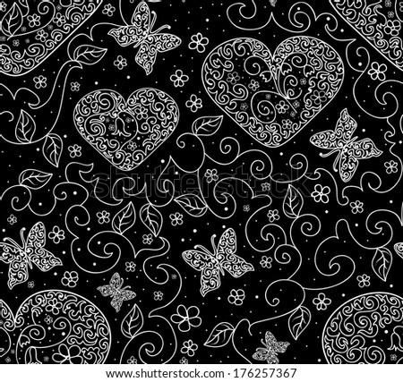 Beautiful vector seamless pattern with figured hearts, butterflies and flowers