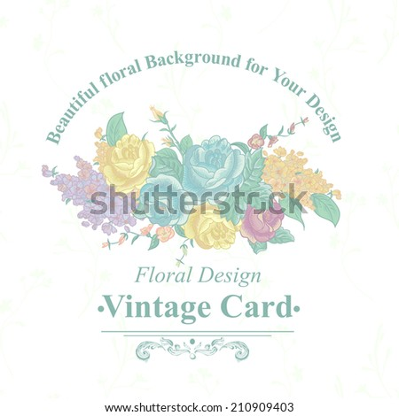 Beautiful Vintage Greeting Card with Bouquets of Wildflowers. Vector floral greeting card with blossom roses, spring background for wedding