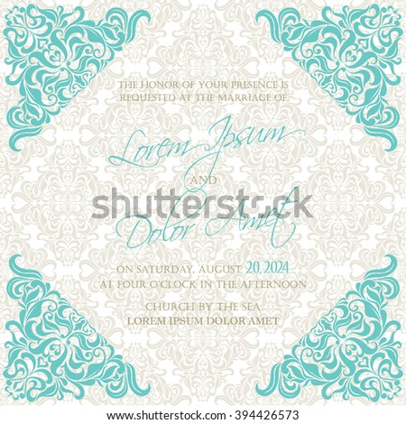 Beautiful vintage wedding invitation card with floral elements.
