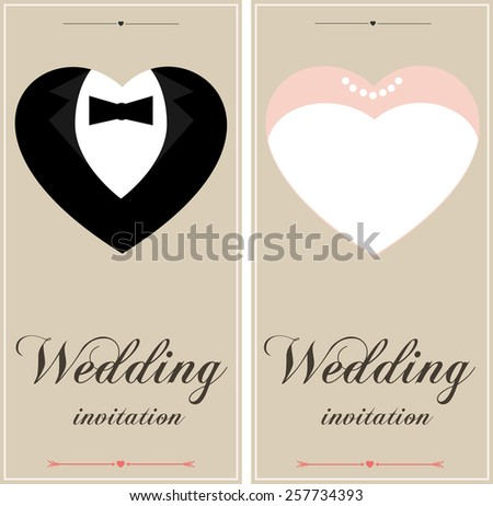 Beautiful wedding invitation cards place text stock vector beautiful wedding invitation cards with place for text he and she design vintage wedding stopboris Choice Image