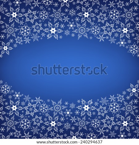 Beautiful winter oval frame blue with white stylized snowflakes. New Year and Christmas festive card with place for text. Stylish trendy background. Vector illustration