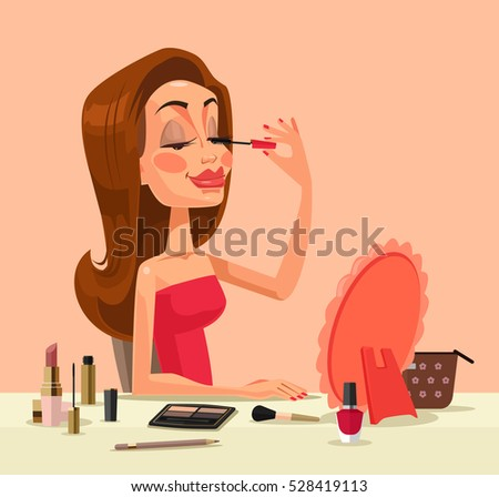 Beautiful woman character doing make up. Vector flat cartoon illustration