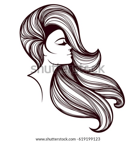 woman hair style silhouette stock vector 122864335