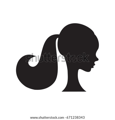 beautiful woman with ponytail hairstyle silhouette vector illustration