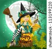 Beautiful young witch with a book and broom sitting on a Halloween background - stock vector