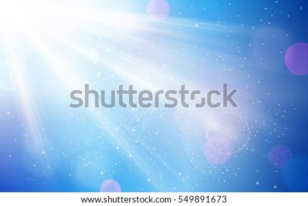 Beautifully soft blur background in shades of blues, white and magenta. Bokeh lights, sun rays and light effects give it a dreamy and magic feel.