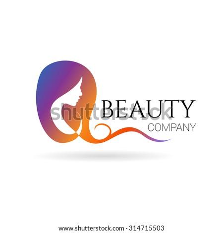 Beautiful womans face logo design template stock vector for Hair salon companies