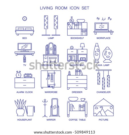 Home interior design icons bedroom living stock vector for Interior design web app