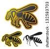 bee icon (honey bee) - stock vector