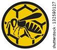 bee icon (honey bee sign, bee symbol) - stock vector