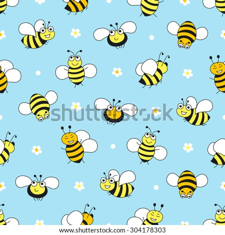 Bee seamless pattern on blue background. Vector
