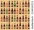 Beer bottles vector collection. Beer vintage seamless background. 44 different vector forms & labels. - stock vector