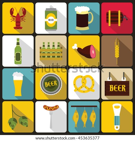 Beer icons set in flat style. Alcohol set collection vector illustration