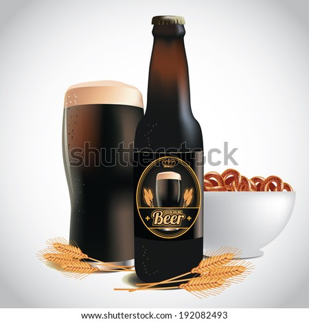 Stock vector beer wheat and pretzels eps vector grouped for easy