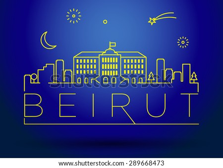 Beirut City Line Silhouette Typographic Design